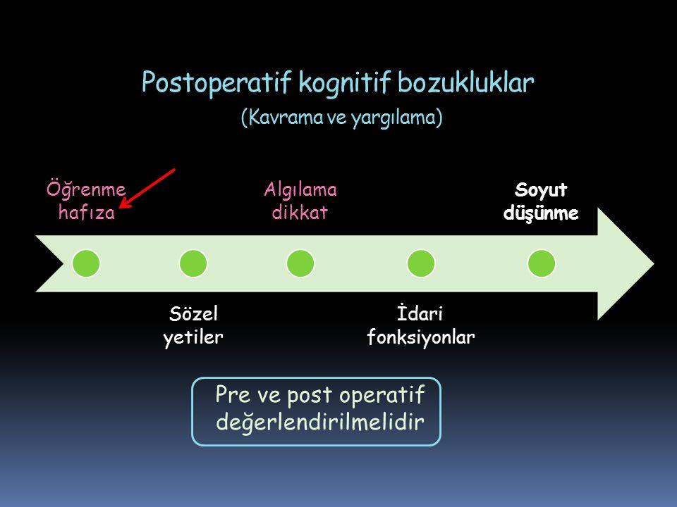 Postoperatif kognitif bozukluklar (Kavrama ve yargılama) Öğrenme hafıza Sözel yetiler Algılama dikkat İdari fonksiyonlar Soyut düşünme Pre ve post ope
