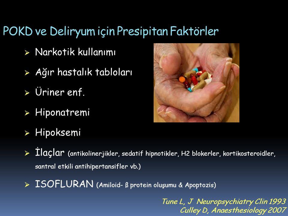 POKD ve Deliryum için Presipitan Faktörler  Narkotik kullanımı  Ağır hastalık tabloları  Üriner enf.  Hiponatremi  Hipoksemi  İlaçlar (antikolin