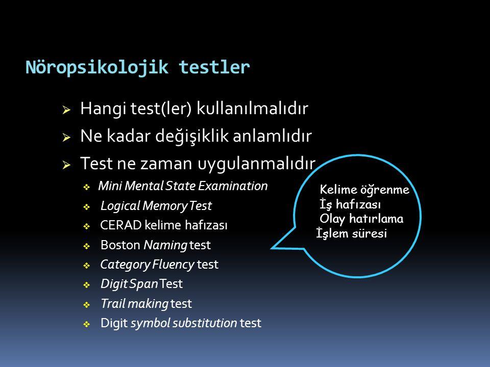 Nöropsikolojik testler  Hangi test(ler) kullanılmalıdır  Ne kadar değişiklik anlamlıdır  Test ne zaman uygulanmalıdır  Mini Mental State Examinati