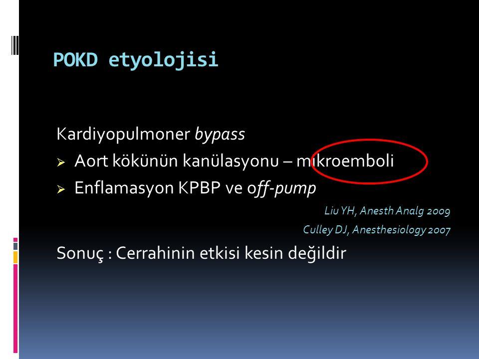 POKD etyolojisi Kardiyopulmoner bypass  Aort kökünün kanülasyonu – mikroemboli  Enflamasyon KPBP ve off-pump Liu YH, Anesth Analg 2009 Culley DJ, An