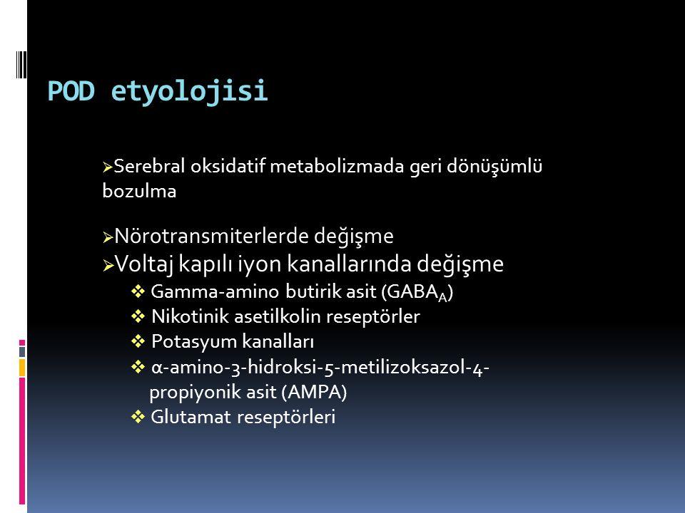 POD etyolojisi  Serebral oksidatif metabolizmada geri dönüşümlü bozulma  Nörotransmiterlerde değişme  Voltaj kapılı iyon kanallarında değişme  Gam