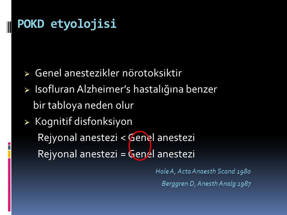 POKD etyolojisi  Genel anestezikler nörotoksiktir  Isofluran Alzheimer's hastalığına benzer bir tabloya neden olur  Kognitif disfonksiyon Rejyonal
