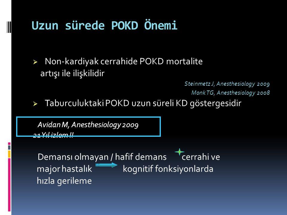 Uzun sürede POKD Önemi  Non-kardiyak cerrahide POKD mortalite artışı ile ilişkilidir Steinmetz J, Anesthesiology 2009 Monk TG, Anesthesiology 2008 
