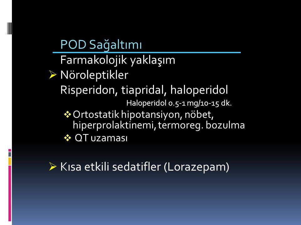 POD Sağaltımı Farmakolojik yaklaşım  Nöroleptikler Risperidon, tiapridal, haloperidol Haloperidol 0.5-1 mg/10-15 dk.  Ortostatik hipotansiyon, nöbet