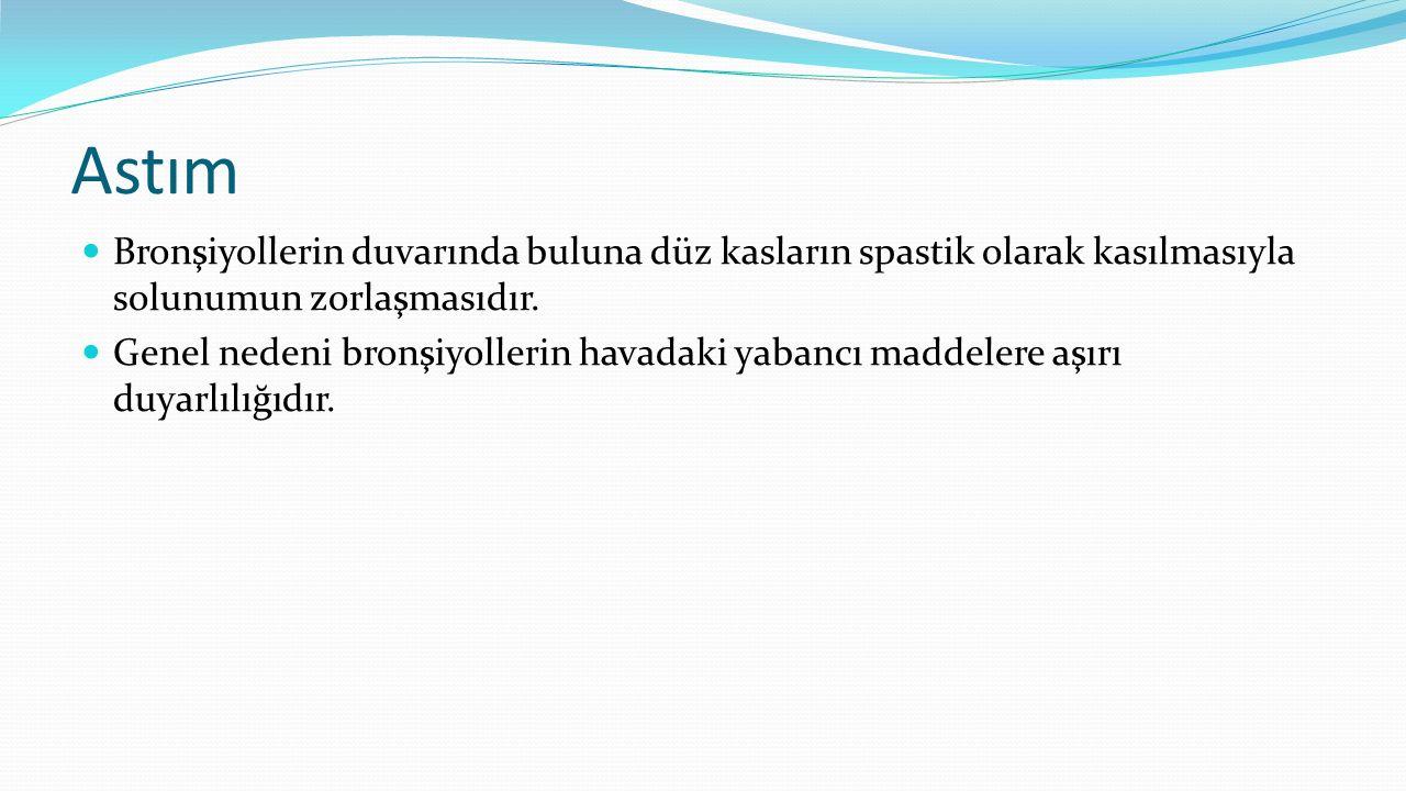 Astım Bronşiyollerin duvarında buluna düz kasların spastik olarak kasılmasıyla solunumun zorlaşmasıdır. Genel nedeni bronşiyollerin havadaki yabancı m