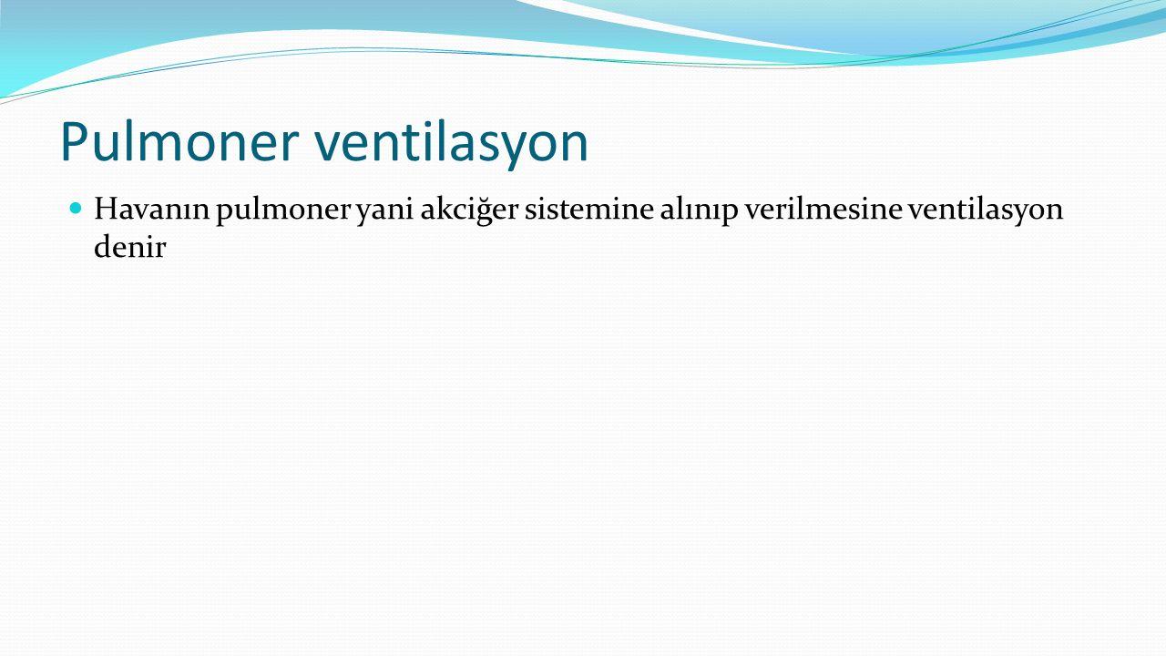 Pulmoner ventilasyon Havanın pulmoner yani akciğer sistemine alınıp verilmesine ventilasyon denir