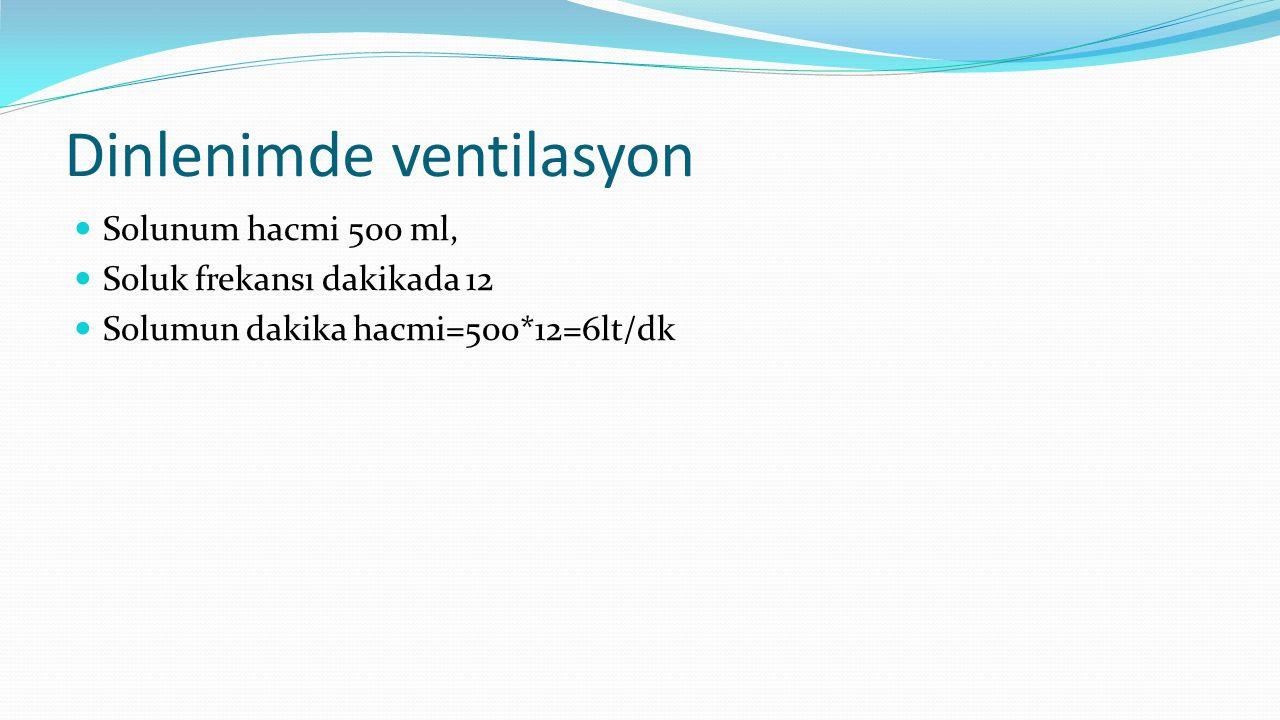 Dinlenimde ventilasyon Solunum hacmi 500 ml, Soluk frekansı dakikada 12 Solumun dakika hacmi=500*12=6lt/dk