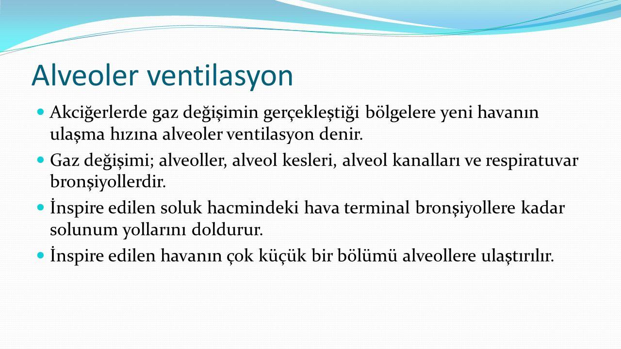 Alveoler ventilasyon Akciğerlerde gaz değişimin gerçekleştiği bölgelere yeni havanın ulaşma hızına alveoler ventilasyon denir. Gaz değişimi; alveoller