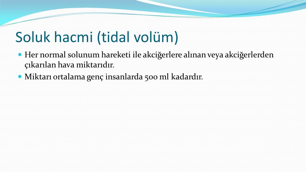 Soluk hacmi (tidal volüm) Her normal solunum hareketi ile akciğerlere alınan veya akciğerlerden çıkarılan hava miktarıdır. Miktarı ortalama genç insan