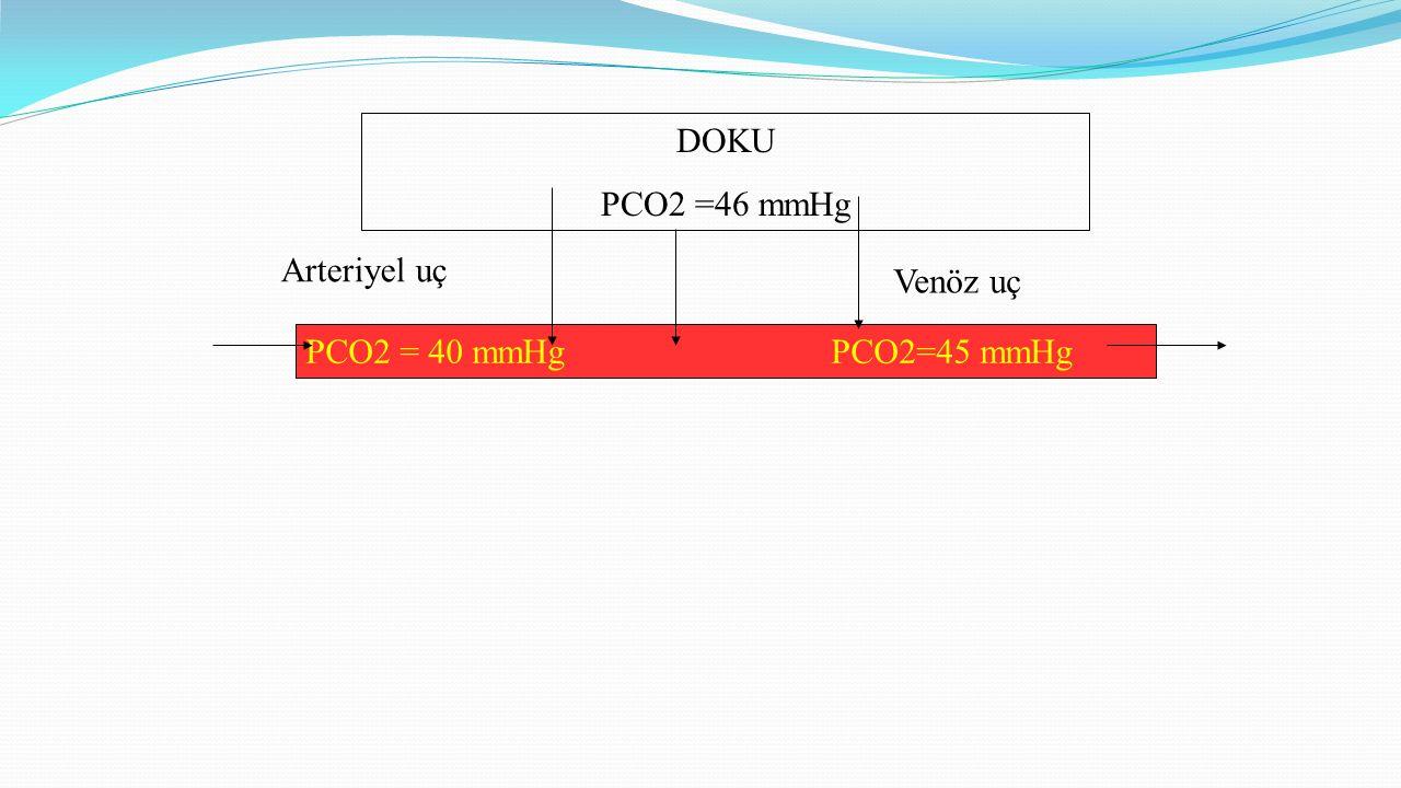 DOKU PCO2 =46 mmHg Arteriyel uç PCO2 = 40 mmHgPCO2=45 mmHg Venöz uç