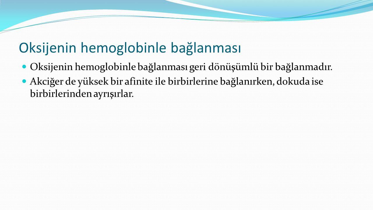 Oksijenin hemoglobinle bağlanması Oksijenin hemoglobinle bağlanması geri dönüşümlü bir bağlanmadır. Akciğer de yüksek bir afinite ile birbirlerine bağ