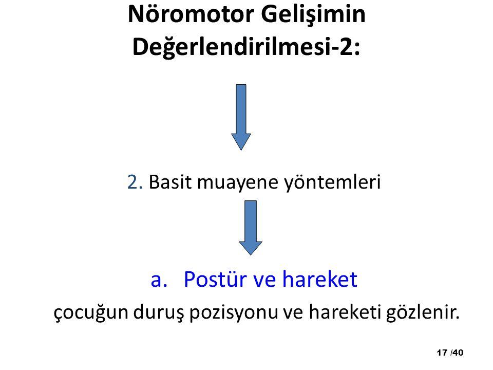 Nöromotor Gelişimin Değerlendirilmesi-2: 2. Basit muayene yöntemleri a.Postür ve hareket çocuğun duruş pozisyonu ve hareketi gözlenir. 17 /40