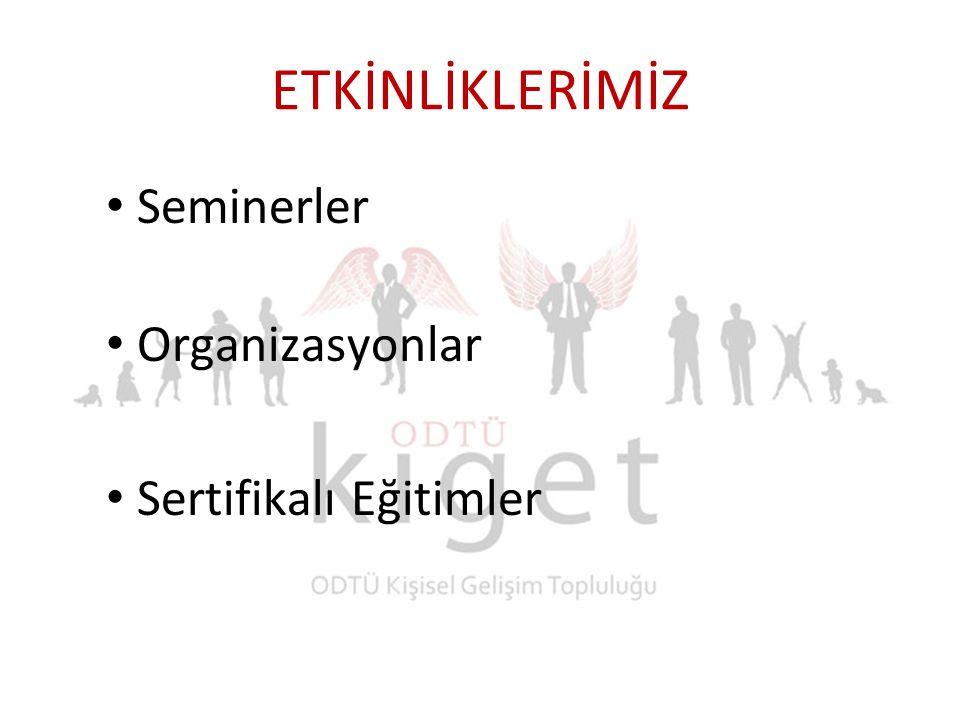 ETKİNLİKLERİMİZ Seminerler Organizasyonlar Sertifikalı Eğitimler