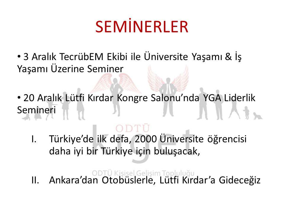 SEMİNERLER 3 Aralık TecrübEM Ekibi ile Üniversite Yaşamı & İş Yaşamı Üzerine Seminer 20 Aralık Lütfi Kırdar Kongre Salonu'nda YGA Liderlik Semineri I.Türkiye'de ilk defa, 2000 Üniversite öğrencisi daha iyi bir Türkiye için buluşacak, II.Ankara'dan Otobüslerle, Lütfi Kırdar'a Gideceğiz