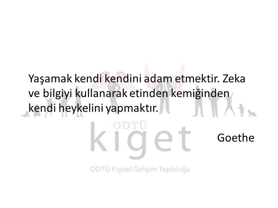 Yaşamak kendi kendini adam etmektir. Zeka ve bilgiyi kullanarak etinden kemiğinden kendi heykelini yapmaktır. Goethe