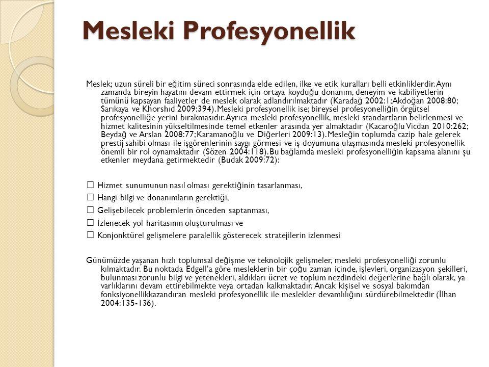 Mesleki Profesyonellik Meslek; uzun süreli bir e ğ itim süreci sonrasında elde edilen, ilke ve etik kuralları belli etkinliklerdir.