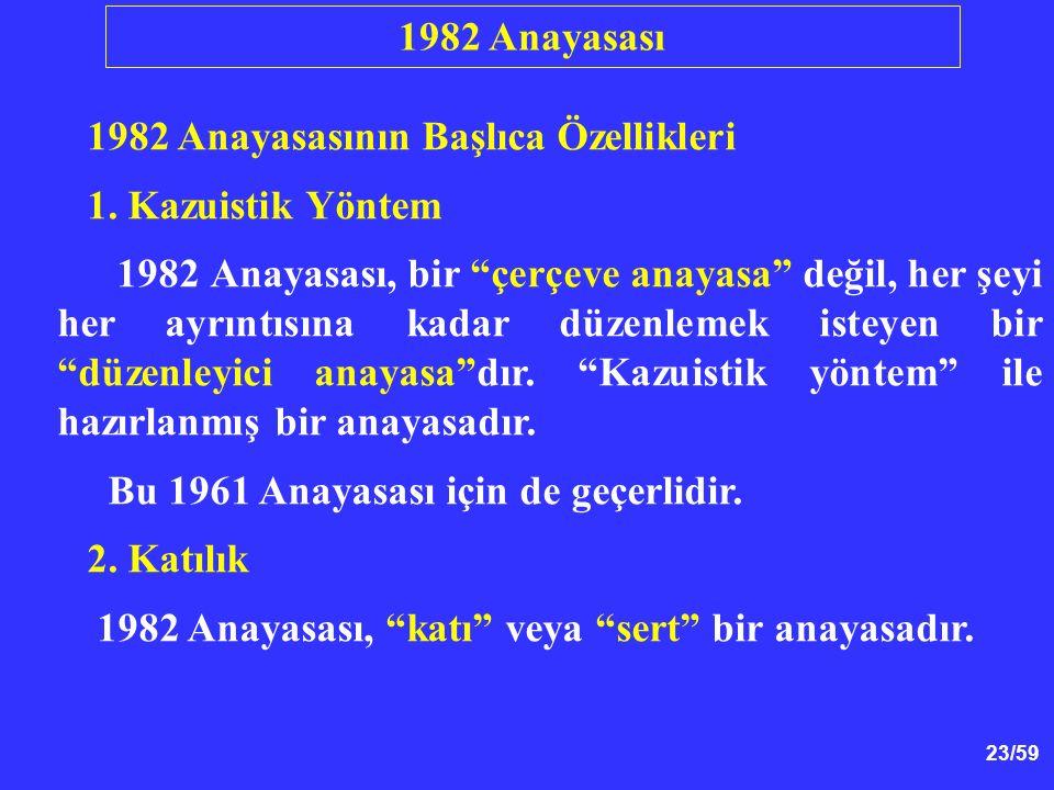 23/59 1982 Anayasasının Başlıca Özellikleri 1.