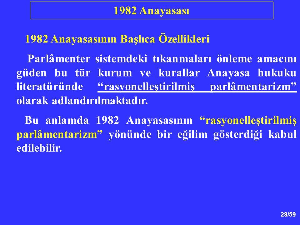28/59 1982 Anayasasının Başlıca Özellikleri Parlâmenter sistemdeki tıkanmaları önleme amacını güden bu tür kurum ve kurallar Anayasa hukuku literatüründe rasyonelleştirilmiş parlâmentarizm olarak adlandırılmaktadır.