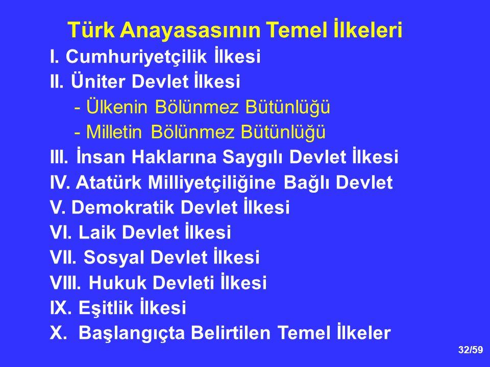 32/59 I.Cumhuriyetçilik İlkesi II.