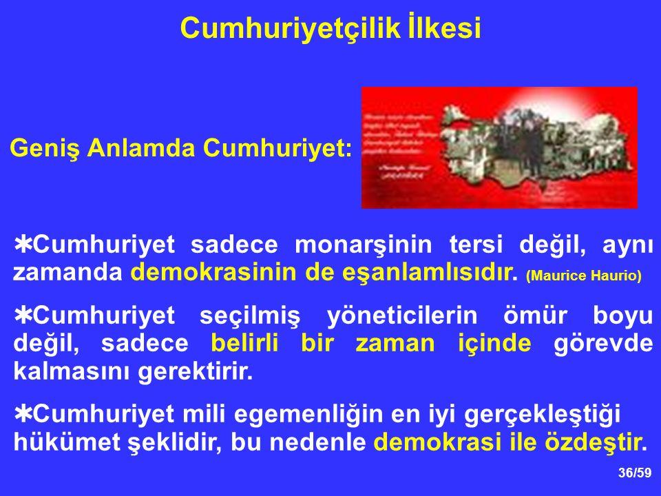 36/59  Cumhuriyet sadece monarşinin tersi değil, aynı zamanda demokrasinin de eşanlamlısıdır.