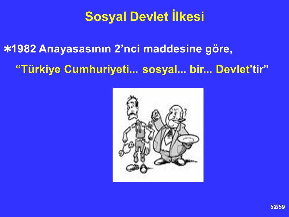 52/59 Sosyal Devlet İlkesi  1982 Anayasasının 2'nci maddesine göre, Türkiye Cumhuriyeti...