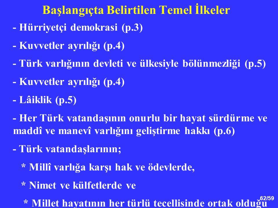 62/59 Başlangıçta Belirtilen Temel İlkeler - Hürriyetçi demokrasi (p.3) - Kuvvetler ayrılığı (p.4) - Türk varlığının devleti ve ülkesiyle bölünmezliği (p.5) - Kuvvetler ayrılığı (p.4) - Lâiklik (p.5) - Her Türk vatandaşının onurlu bir hayat sürdürme ve maddî ve manevî varlığını geliştirme hakkı (p.6) - Türk vatandaşlarının; * Millî varlığa karşı hak ve ödevlerde, * Nimet ve külfetlerde ve * Millet hayatının her türlü tecellisinde ortak olduğu (p.7)