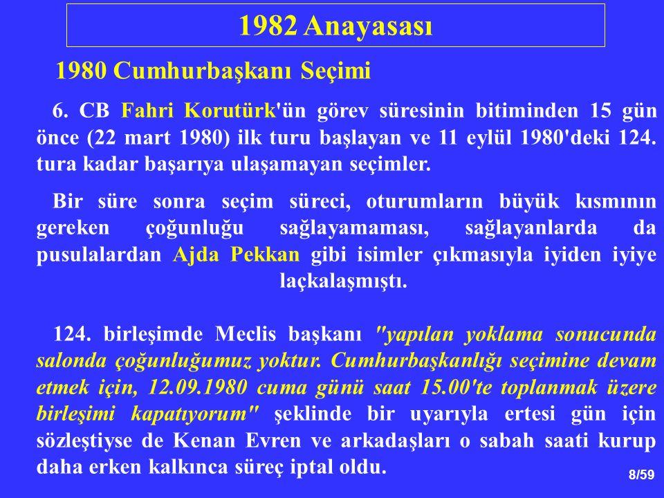 9/59 Cumhurbaşkanı Seçimi Köşk için kaç tur attılar.