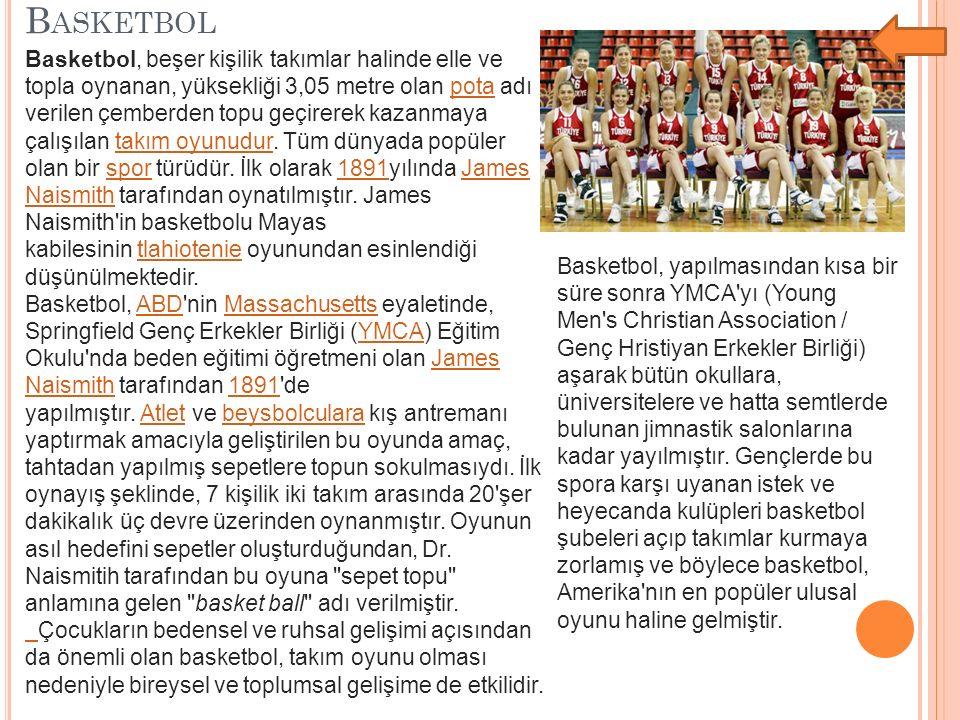 B ASKETBOL Basketbol, beşer kişilik takımlar halinde elle ve topla oynanan, yüksekliği 3,05 metre olan pota adı verilen çemberden topu geçirerek kazan