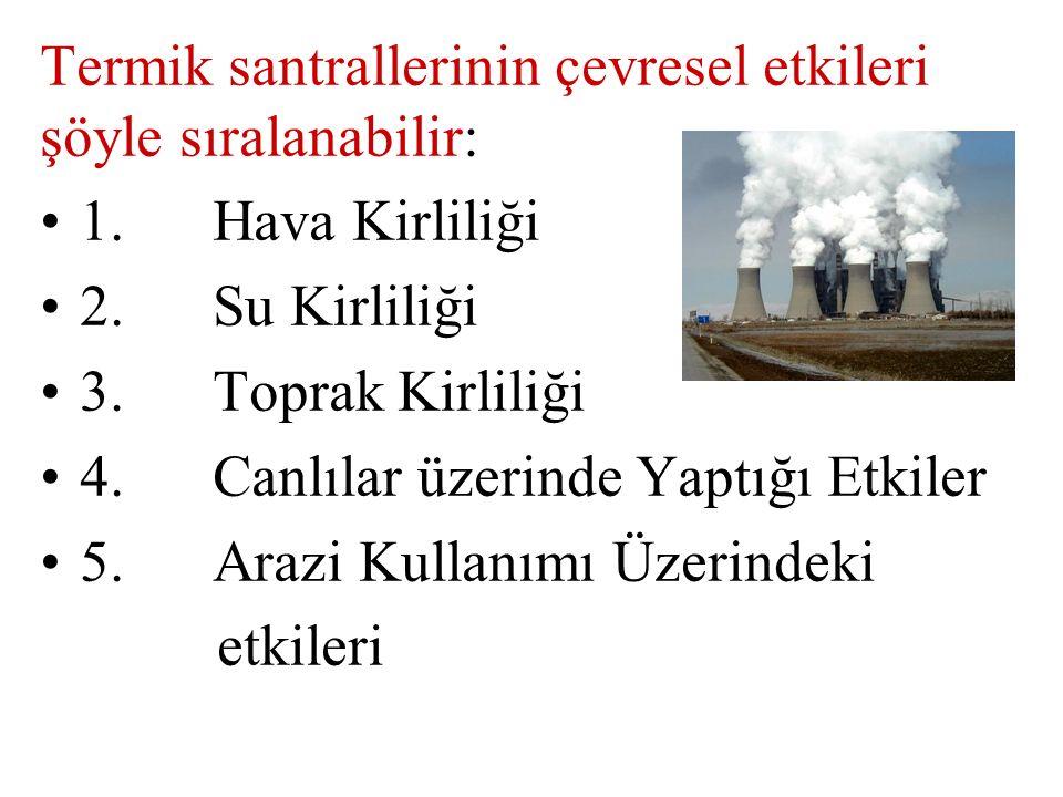 Termik santrallerinin çevresel etkileri şöyle sıralanabilir: 1. Hava Kirliliği 2. Su Kirliliği 3. Toprak Kirliliği 4. Canlılar üzerinde Yaptığı Etkile