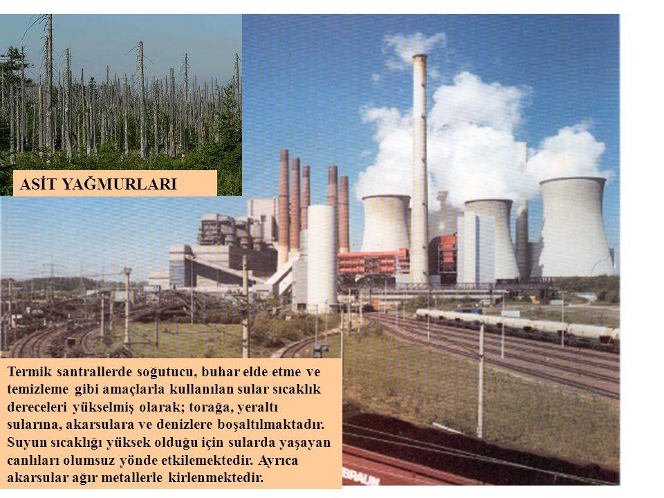 ASİT YAĞMURLARI Termik santrallerde soğutucu, buhar elde etme ve temizleme gibi amaçlarla kullanılan sular sıcaklık dereceleri yükselmiş olarak; torağ