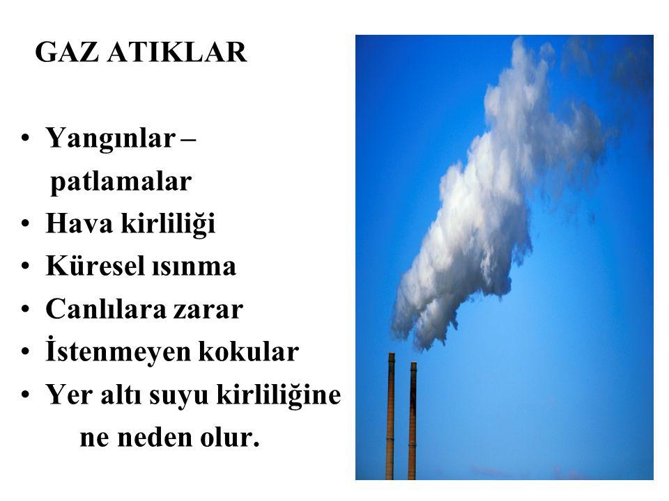 GAZ ATIKLAR Yangınlar – patlamalar Hava kirliliği Küresel ısınma Canlılara zarar İstenmeyen kokular Yer altı suyu kirliliğine ne neden olur. COĞRAFYA