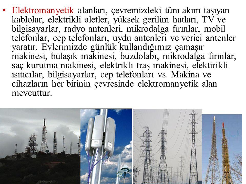 Elektromanyetik alanları, çevremizdeki tüm akım taşıyan kablolar, elektrikli aletler, yüksek gerilim hatları, TV ve bilgisayarlar, radyo antenleri, mi