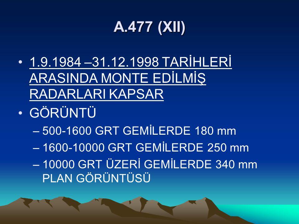 A.477 (XII) 1.9.1984 –31.12.1998 TARİHLERİ ARASINDA MONTE EDİLMİŞ RADARLARI KAPSAR GÖRÜNTÜ –500-1600 GRT GEMİLERDE 180 mm –1600-10000 GRT GEMİLERDE 250 mm –10000 GRT ÜZERİ GEMİLERDE 340 mm PLAN GÖRÜNTÜSÜ