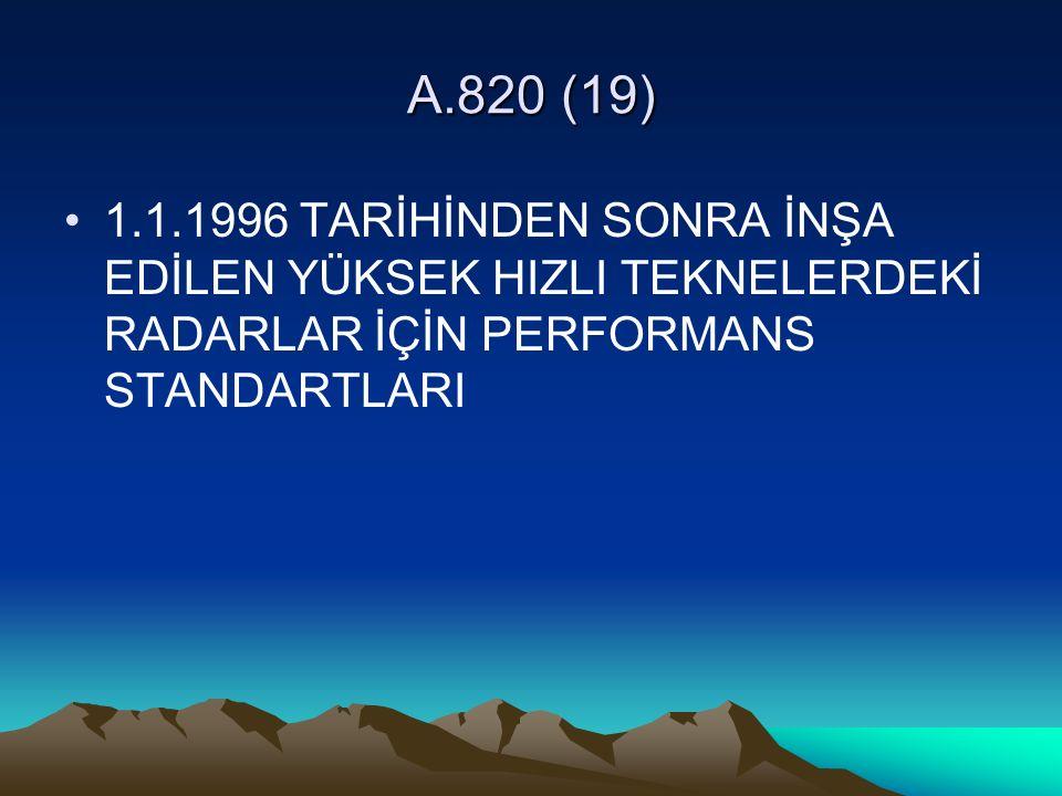 A.820 (19) 1.1.1996 TARİHİNDEN SONRA İNŞA EDİLEN YÜKSEK HIZLI TEKNELERDEKİ RADARLAR İÇİN PERFORMANS STANDARTLARI