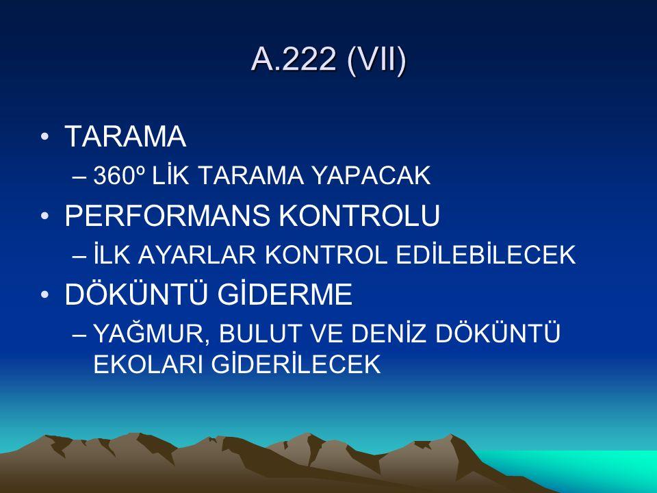 A.222 (VII) TARAMA –360º LİK TARAMA YAPACAK PERFORMANS KONTROLU –İLK AYARLAR KONTROL EDİLEBİLECEK DÖKÜNTÜ GİDERME –YAĞMUR, BULUT VE DENİZ DÖKÜNTÜ EKOLARI GİDERİLECEK