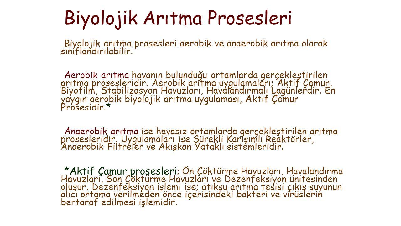 Biyolojik Arıtma Prosesleri Biyolojik arıtma prosesleri aerobik ve anaerobik arıtma olarak sınıflandırılabilir.