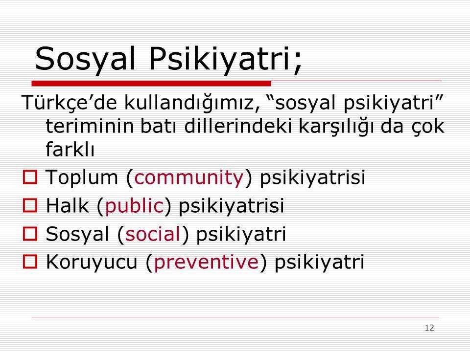 12 Sosyal Psikiyatri; Türkçe'de kullandığımız, sosyal psikiyatri teriminin batı dillerindeki karşılığı da çok farklı  Toplum (community) psikiyatrisi  Halk (public) psikiyatrisi  Sosyal (social) psikiyatri  Koruyucu (preventive) psikiyatri