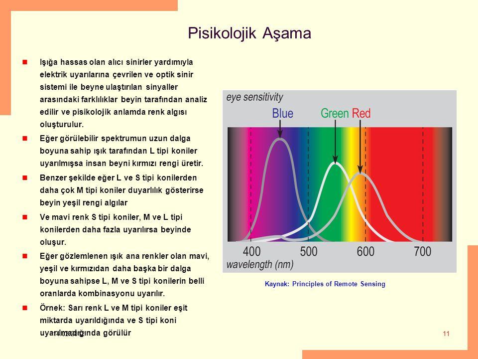 14.02.2012 11 Pisikolojik Aşama Işığa hassas olan alıcı sinirler yardımıyla elektrik uyarılarına çevrilen ve optik sinir sistemi ile beyne ulaştırılan sinyaller arasındaki farklılıklar beyin tarafından analiz edilir ve pisikolojik anlamda renk algısı oluşturulur.