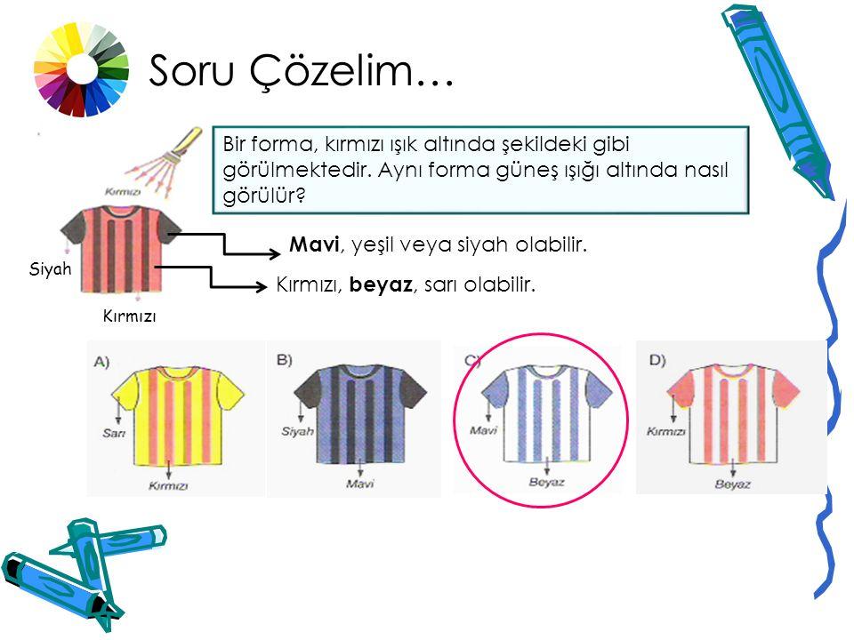 Soru Çözelim… Bir öğrenci farklı renkteki üç cisim üzerinde farklı renkler gönderdiğinde cisimlerin farklı renkte görüldüğünü gözlemler. Buna göre tab