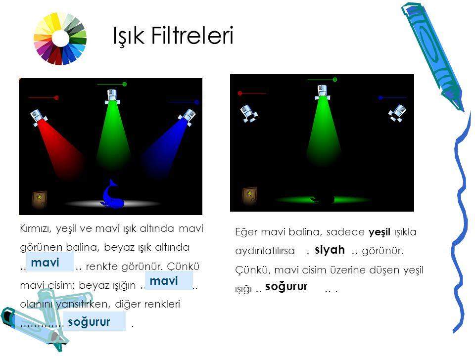 Işık Filtreleri Kırmızı, yeşil ve mavi ışıkla açıkken cisim beyaz görülmektedir. Bu yüzden cisim, …………… renktedir. beyaz Eğer bu beyaz cisim, kırmızı