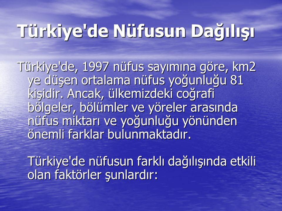 Türkiye'de Nüfusun Dağılışı Türkiye'de, 1997 nüfus sayımına göre, km2 ye düşen ortalama nüfus yoğunluğu 81 kişidir. Ancak, ülkemizdeki coğrafi bölgele