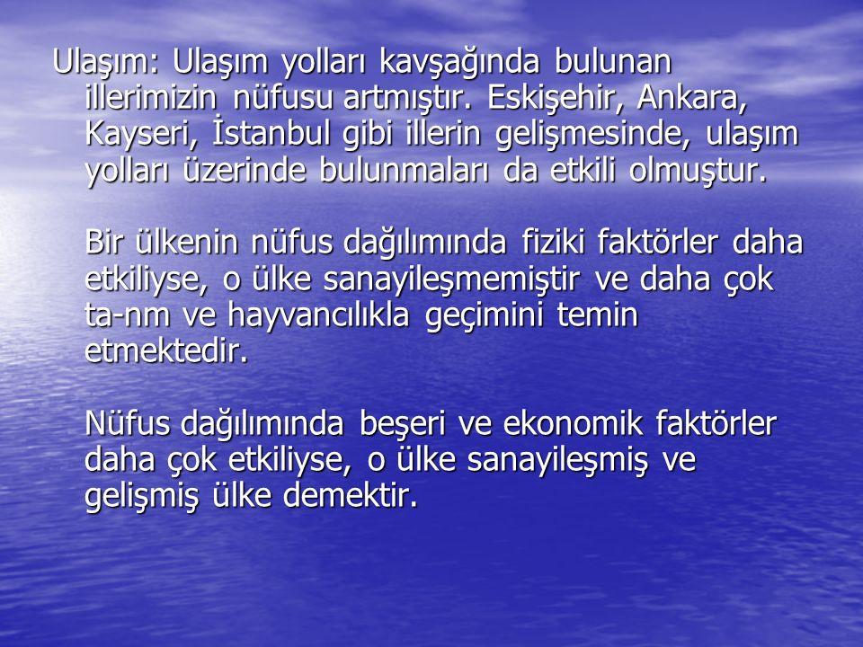 Türkiye Nüfus Dağılım Haritası da; En kalabalık yerlerin; Trabzon, Samsun, Zonguldak, istanbul, İzmit, Adapazarı, Bursa, İzmir, Aydın, Adana, İçel, Hatay, Ankara ve Gaziantep olduğu görülür.
