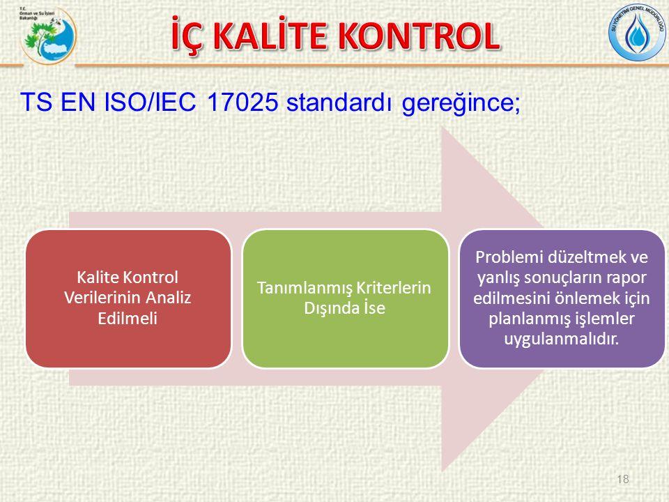 TS EN ISO/IEC 17025 standardı gereğince; Kalite Kontrol Verilerinin Analiz Edilmeli Tanımlanmış Kriterlerin Dışında İse Problemi düzeltmek ve yanlış sonuçların rapor edilmesini önlemek için planlanmış işlemler uygulanmalıdır.