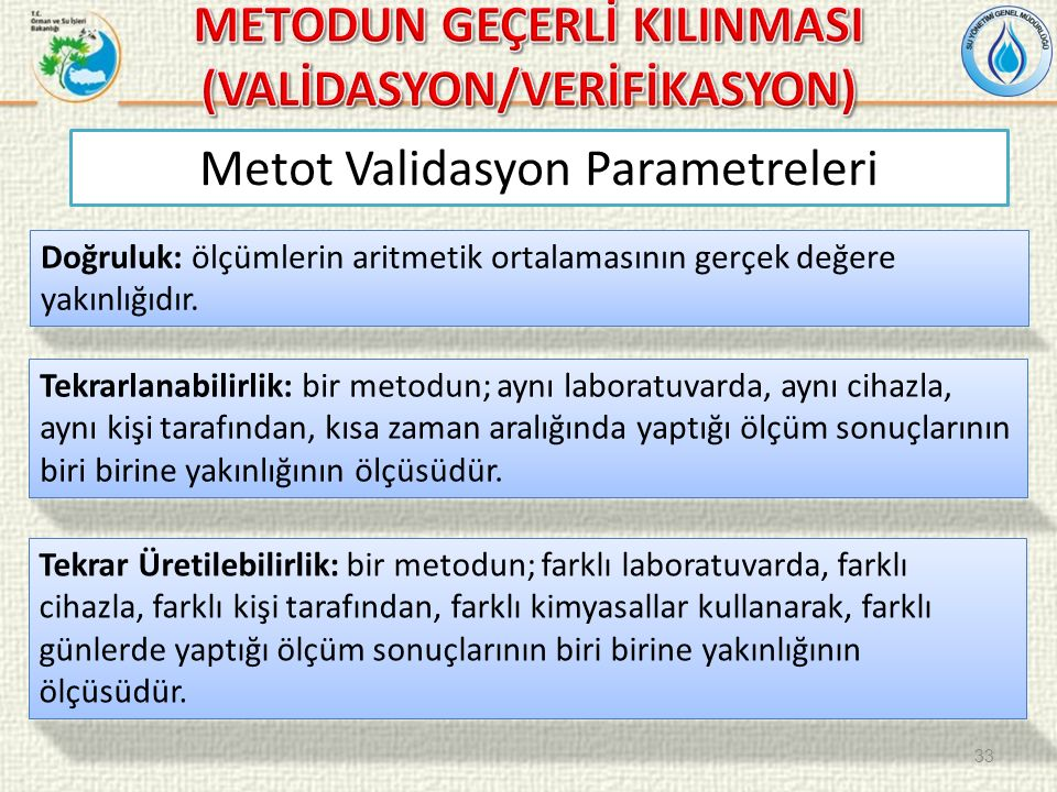 Metot Validasyon Parametreleri Doğruluk: ölçümlerin aritmetik ortalamasının gerçek değere yakınlığıdır.