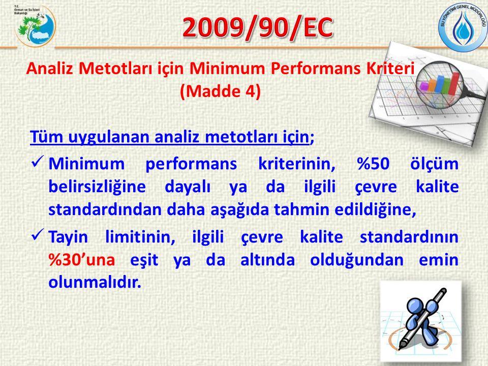 Tüm uygulanan analiz metotları için; Minimum performans kriterinin, %50 ölçüm belirsizliğine dayalı ya da ilgili çevre kalite standardından daha aşağıda tahmin edildiğine, Tayin limitinin, ilgili çevre kalite standardının %30'una eşit ya da altında olduğundan emin olunmalıdır.