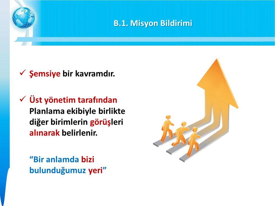 B.1. Misyon Bildirimi Şemsiye bir kavramdır.