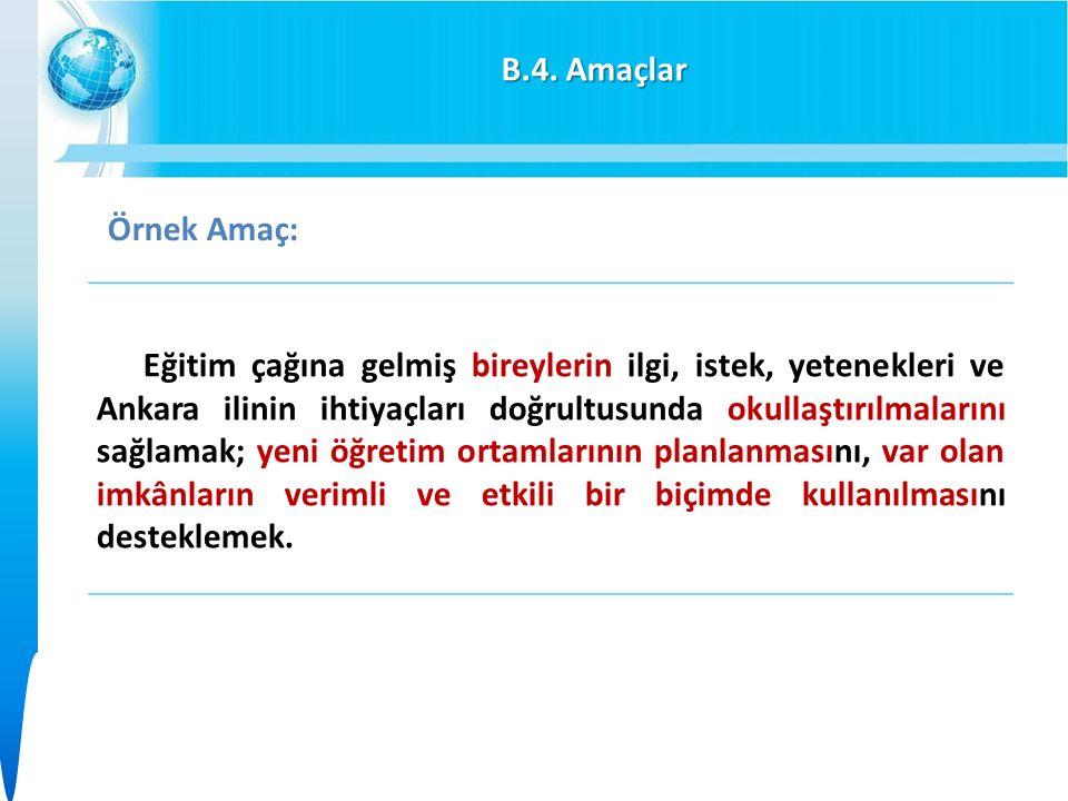 B.4. Amaçlar Eğitim çağına gelmiş bireylerin ilgi, istek, yetenekleri ve Ankara ilinin ihtiyaçları doğrultusunda okullaştırılmalarını sağlamak; yeni ö
