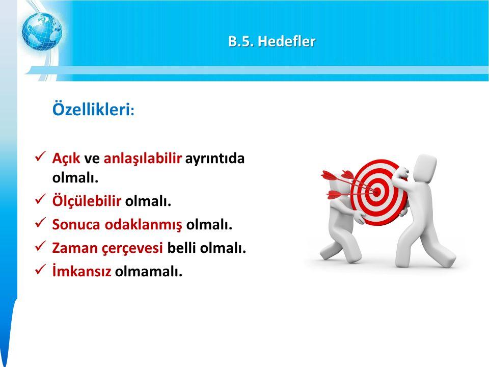 B.5. Hedefler Özellikleri : Açık ve anlaşılabilir ayrıntıda olmalı.