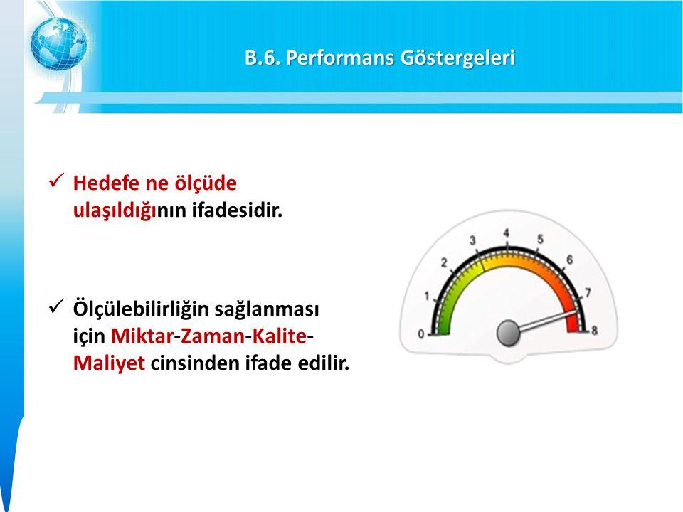 B.6. Performans Göstergeleri Hedefe ne ölçüde ulaşıldığının ifadesidir.