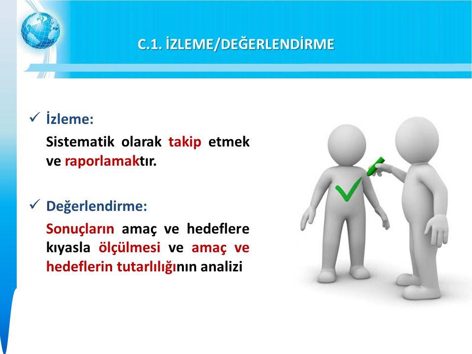 C.1. İZLEME/DEĞERLENDİRME İzleme: Sistematik olarak takip etmek ve raporlamaktır.